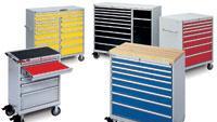 Workstations on wheels provide multiple storage options