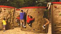 Climbing walls let youngsters scramble over simulated boulders