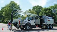 Sewer vacuum equipped with 26-ft. telescoping boom