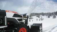 Front-mounted snow blower attachment