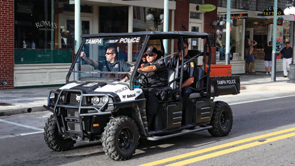 Vehicles help control crowds at Republican Convention