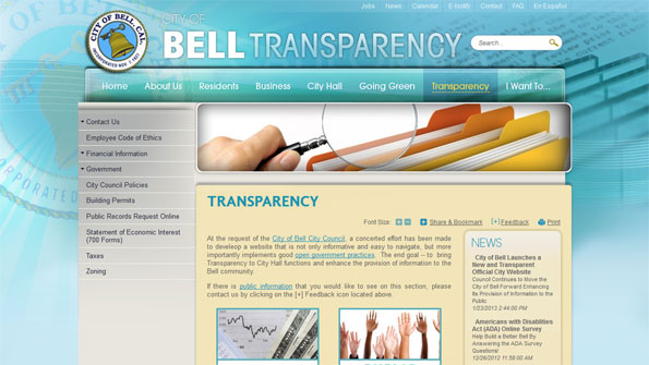New Bell, Calif., website emphasizes transparency