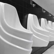 Falcon Waterfree urinals at the Staples Center in Los Angeles.