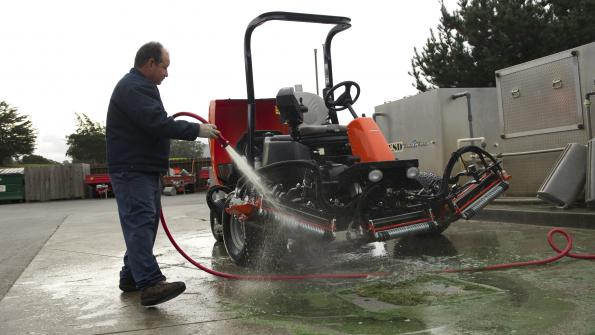 Proper cleaning is essential to turf maintenance equipment