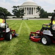 Two Exmark Lazer Z S-Series lawn mowers at work on the National Mall.