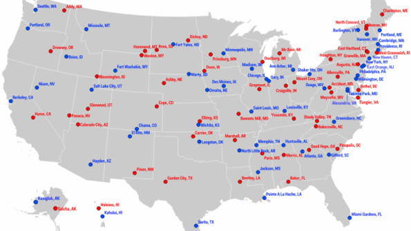 Liberal and conservative – cities' political leanings