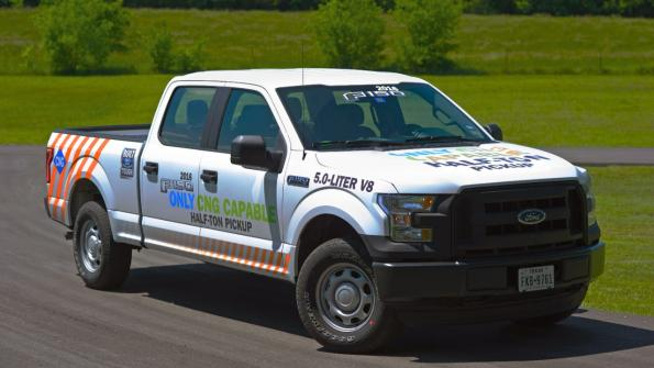 Light-duty pickup can run on compressed natural gas or propane