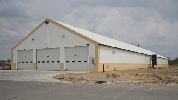 Fabric building is a convenient home for city buses in the Hawkeye State