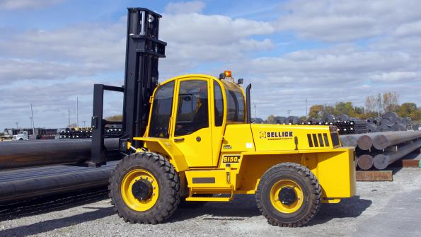 Sturdy forklift performs municipal tasks