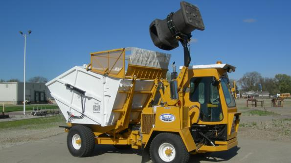 Single-operator, off-road trucks expedite trash collection