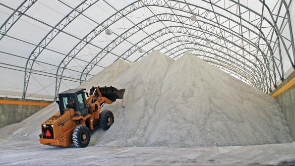 Fabric structure efficiently stores road salt in Illinois