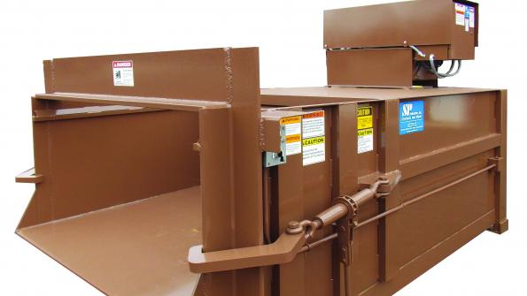 Stationary compactor is suited for government facilities