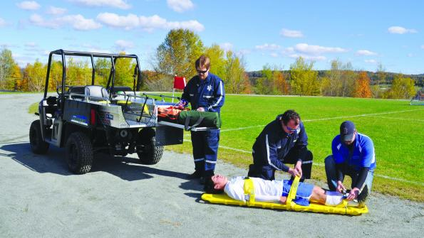 UTV equipment provides efficient on-field medical transport for sports programs