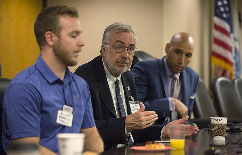"""U.S. Customs and Border Protection Acting Deputy Commissioner Ronald D. Vitiello meets with students from American University during an informal session titled """"Coffee with a Cop"""" to discuss the mission of CBP and to field questions from the students on border security at CBP headquarters in Washington, D.C., October 4, 2017. U.S. Customs and Border Protection photo by Glenn Fawcett."""