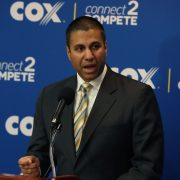 WASHINGTON, DC - OCTOBER 01: FCC Chairman Ajit Pai speaks during a news conference to unveil Cox Connect2Compete program, at the National Press Club, on October 1, 2018 in Washington, DC. Referring to 5G technology, Pai recently said he believed government regulation was slowing implementation. (Photo by Mark Wilson/Getty Images)
