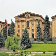 The National Assembly building in Yerevan, Armenia.