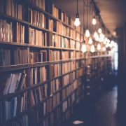 books on bookshelves and light bulbs