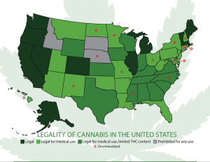 Map of the legality of cannabis in the United States