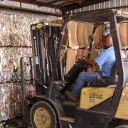 recycled materials liften by a forklift.