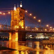 The Roebling Suspension Bridge in Cincinnati.