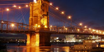 The Roebling Suspension Bridge in Cincinnati.