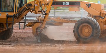 heavy machines on infrastructure project