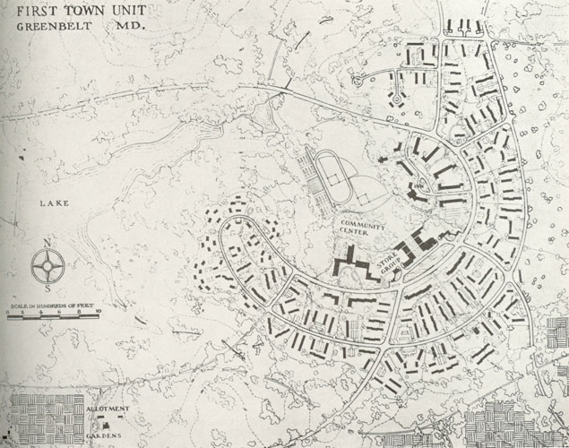 Plans for Greenbelt, Md., published in The American City, August 1936
