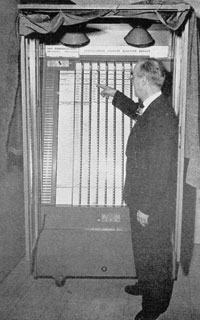 A voting machine in Louisiana, published in The American City, July 1950