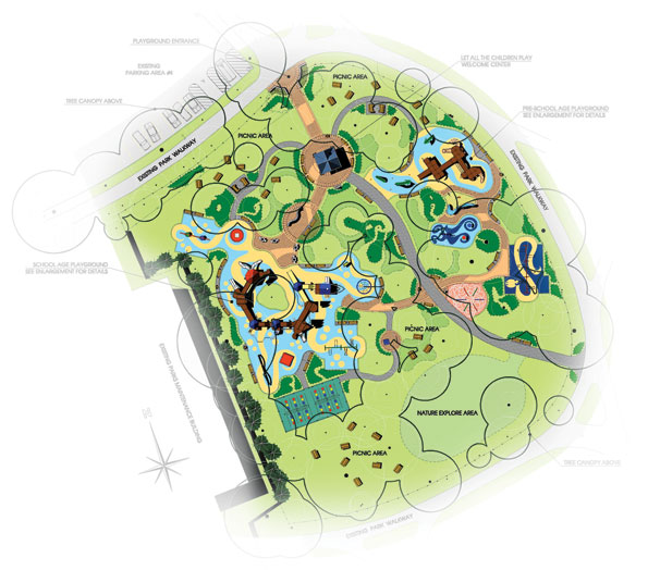 Site plan for the Let All the Children Plan facility at Eisenhower Park in East Meadows, N.Y.